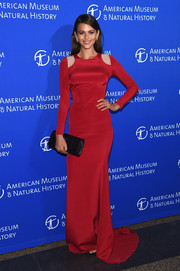 Georgia Fowler looked simply elegant in her red Gabriela Cadena evening dress during the American Museum of Natural History Gala.