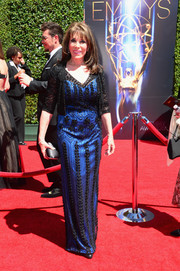 Kate Linder donned an embellished blue gown with a matching black bolero for the Creative Arts Emmy Awards.