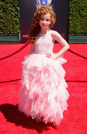 Francesca Capaldi was an absolute cutie in this pink ruffle gown during the Creative Arts Emmy Awards.