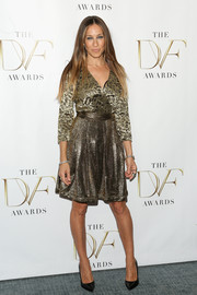 Sarah Jessica Parker showed her impeccable style with this gold lace-bodice wrap dress by Diane von Furstenberg during the DVF Awards.