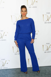 Alicia Keys was all about understated sophistication in this cobalt Diane von Furstenberg jumpsuit at the DVF Awards.