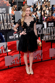 Greer Grammer looked ultra feminine in a sheer-panel lace and tulle LBD by Rhea Costa during the MTV Movie Awards.
