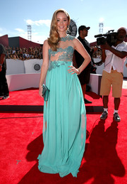 Greer Grammer looked like a sexy princess wearing this turquoise sheer-bodice gown by Walter Mendez to the MTV VMAs.