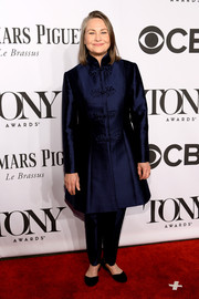 Cherry Jones attended the Tony Awards wearing a Mandarin-style midnight-blue evening coat.