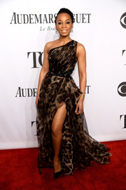 Anika Noni Rose unleashed her wild side in a leopard-print one-shoulder gown by Badgley Mischka during the Tony Awards.