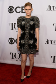 Kate Mara cut a strong silhouette in a heavily beaded Dolce & Gabbana cocktail dress during the Tony Awards.