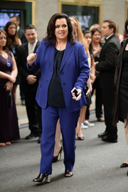 Rosie O'Donnell opted for a simple blue pantsuit when she attended the Tony Awards.