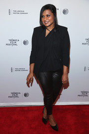 Mindy Kaling layered a black blazer over an asymmetrical blouse, both by Helmut Lang, for the 'Alex of Venice' after-party during the 2014 Tribeca Film Festival.