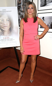 Jennifer Aniston went for a simple pink Calvin Klein mini when she attended the screening of 'Cake.'