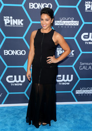 Gina Rodriguez was edgy-glam at the Young Hollywood Awards in a BCBG Max Azria zip-front black gown.