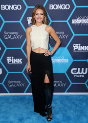Amy Purdy paired her crop-top with a high-slit black maxi skirt.