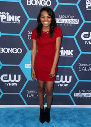 China Anne Mcclain paired her dress with black Jeffrey Campbell ankle boots for a bit of edge.
