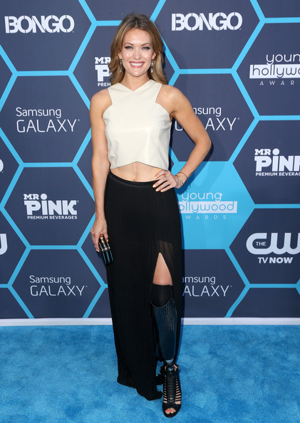 More Pics of Amy Purdy Long Skirt (1 of 5) - Amy Purdy Lookbook - StyleBistro [clothing,crop top,carpet,fashion,footwear,dress,waist,shirt,electric blue,top,amy purdy,arrivals,young hollywood awards,california,los angeles,samsung galaxy,the wiltern]