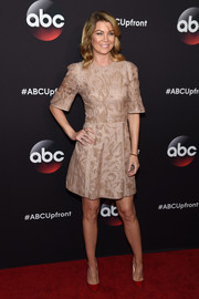 Ellen Pompeo chose a subtly patterned cocktail dress by Elie Saab for her ABC Upfront look.