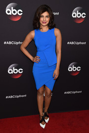 Priyanka Chopra went the modern route with this structured blue cocktail dress by Alexander Wang during the ABC Upfront event.