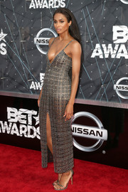 Ciara sizzled on the BET Awards red carpet in a Wes Gordon sheer, beaded dress with a plunging neckline and a high front slit.