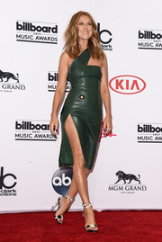 Celine Dion styled her frock with a pair of monochrome sandals by Alexander McQueen.