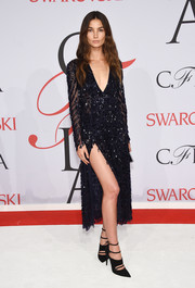 Lily Aldridge punched up her look with a pair of strappy black pumps by Tabitha Simmons.