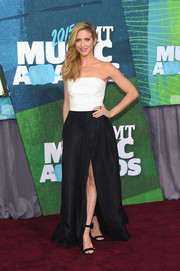 Brittany Snow went for simple elegance in a black-and-white strapless gown by Monique Lhuillier at the CMT Music Awards.