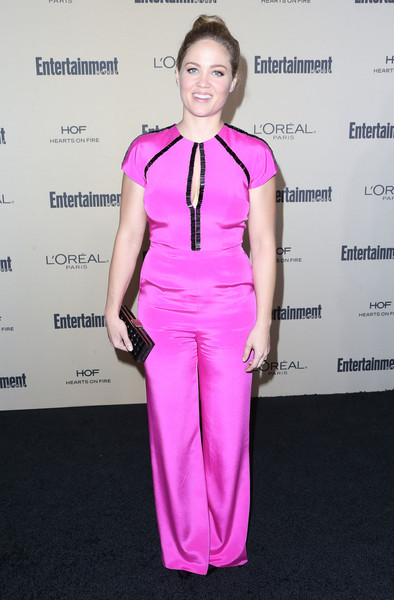 Erika Christensen couldn't be missed wearing this bright magenta jumpsuit at the Entertainment Weekly pre-Emmy party.