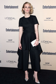 Sarah Paulson opted for a black COS jumpsuit with oversized peplum detailing for her Entertainment Weekly pre-Emmy party look.