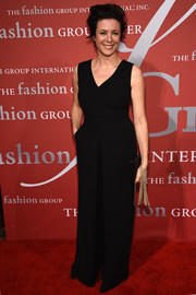Garance Dore went for relaxed elegance in a black wide-leg jumpsuit during the Night of Stars Gala.