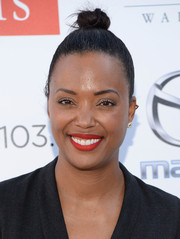 Aisha Tyler pulled her locks up into a tight top knot for the Festival of Arts concert and pageant.