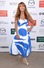 Jane Seymour chose a pair of strappy silver wedges to complete her look.