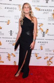 Alexandra Richards was all about edgy glamour in a black leather-panel one-shoulder gown at the Fragrance Foundation Awards.