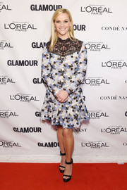 Reese Witherspoon looked very dainty in a tricolor flower-embroidered cocktail dress by Erdem at the Glamour Women of the Year Awards.