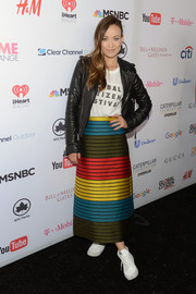 Olivia Wilde brought an explosion of colors to the Global Citizen Festival with this Mary Katrantzou skirt.
