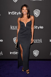 Gabrielle Union made a super-seductive statement with this low-cut, high-slit spaghetti-strap dress by Nicholas at the InStyle and Warner Bros. Golden Globes party.