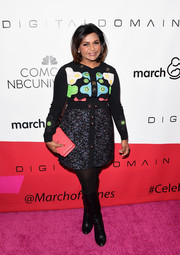 Mindy Kaling sported a fun and vibrant Peter Pilotto mini dress with an embroidered bodice and a dotted skirt during the March of Dimes Celebration of Babies.