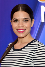 America Ferrera sported a sleek center-parted ponytail at the NBC Upfront Presentation.