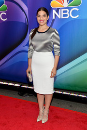 America Ferrera punctuated her outfit with a pair of strappy white mesh-panel pumps.