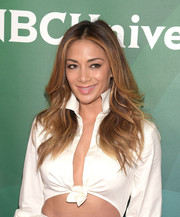 Nicole Scherzinger wore her hair down with feathery layers during the NBCUniversal Summer Press Day.