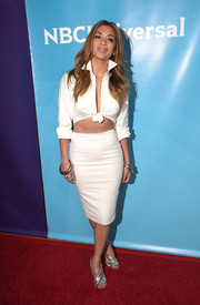 Nicole Scherzinger gave us an eyeful of abs in a white Sergio Hudson cutout dress (that looked like a button-down and pencil skirt set) during the NBCUniversal Summer Press Day.