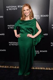 Jessica Chastain was a goddess in green at the National Board of Review Gala in this draped emerald gown by Carl Kapp.