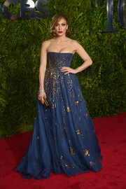 Jennifer Lopez traded in her signature sheer frocks for this princessy, glittery Valentino Couture strapless gown when she attended the Tony Awards.