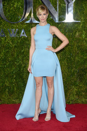 Beth Behrs went the modern-glam route in a pastel-blue Gauri & Nainika fishtail dress at the Tony Awards.