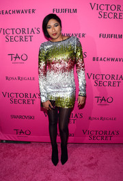 Alicia Quarles sparkled in a fully sequined mini dress during the Victoria's Secret fashion show after-party.