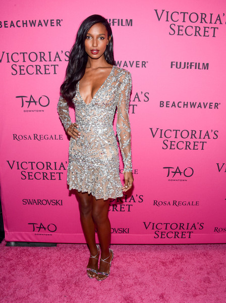 More Pics of Jasmine Tookes Long Wavy Cut (1 of 2) - Jasmine Tookes Lookbook - StyleBistro [clothing,dress,pink,fashion,hairstyle,beauty,fashion model,shoulder,cocktail dress,premiere,carpet arrivals,jasmine tookes,new york city,tao downtown,victorias secret fashion after party]