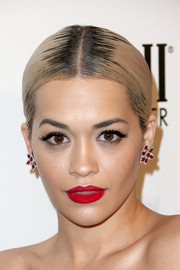 Rita Ora rocked a super-sleek center-parted ponytail at the Weinstein Company and Netflix Golden Globes party.