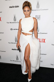 For a head-to-toe sexy look, Jennifer Lopez paired her crop-top with a slit-up-to-there skirt, also by Amanda Wakeley.