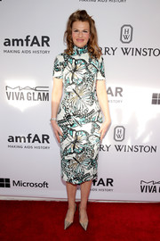 Sandra Bernhard donned a lovely butterfly-print sheath dress by Marc Bouwer for the amfAR Inspiration Gala.