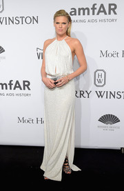Alexandra Richards looked divine in a micro-beaded white halter gown at the amfAR New York Gala.