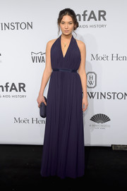 Hana Mayeda looked divine in a pleated purple halter gown during the amfAR New York Gala.