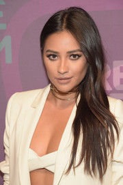 Shay Mitchell wore her long layered hair swept to the side when she attended the ABC Freeform Upfront.