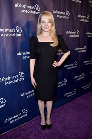 Melissa Rauch opted for a no-frills square-neck LBD when she attended the Alzheimer Association's A Night at Sardi's event.