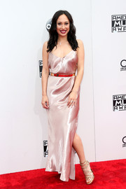 Cheryl Burke hovered between sweet and sexy in a blush-colored satin slip dress during the 2016 AMAs.
